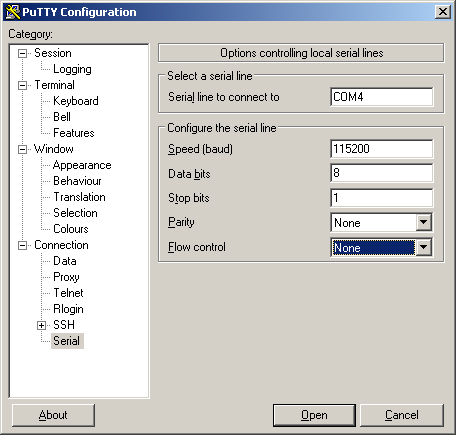 Configuration settings for PuTTY to allow serial connection to a PogoPlug Pink